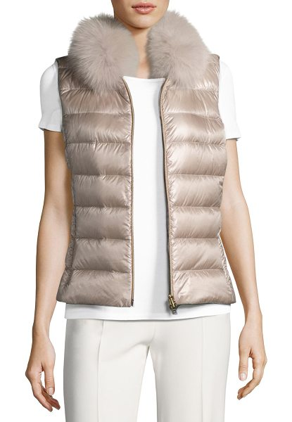 HERNO Quilted Puffer Vest w/ Fur Collar in pale pink - EXCLUSIVELY AT NEIMAN MARCUS Herno quilted puffer vest....