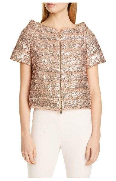 HERNO sequin short sleeve down puffer jacket in pink