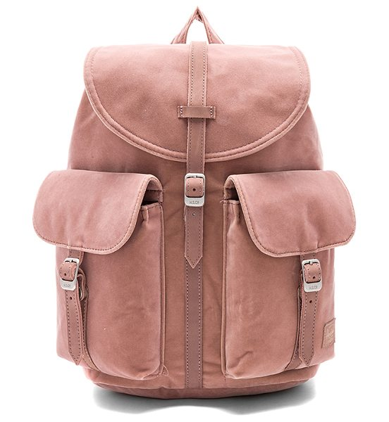 "Herschel Supply Co. Velvet Dawson X-Small in rose - ""Velvet exterior with poly fabric lining. Flap top with..."