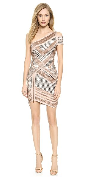 HERVE LEGER Abbie one shoulder dress - Shimmering, copper tone beading and lattice patterns...