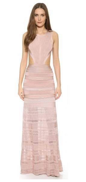 Herve Leger Alondra sleeveless gown in bare - A sheer, slinky panel lends dramatic movement to this...