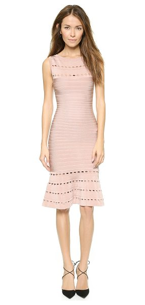 Herve Leger Audrina dress in bare - An elegant Herve Leger bandage dress with a flattering...