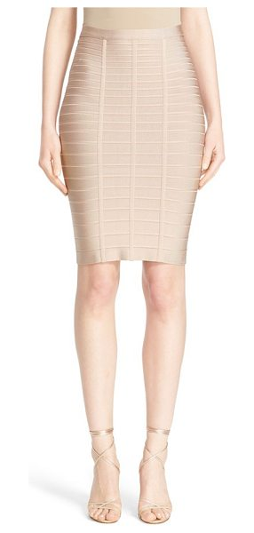 Herve Leger bandage pencil skirt in dune - Dense, stretchy knit bands trace and sculpt every curve...