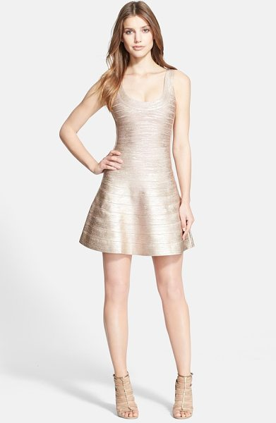 HERVE LEGER bandage tank dress in rose gold - Metallic ombre coloring ices a short tank dress with...