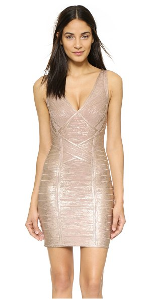 Herve Leger Briar foiled bandage dress in rose gold combo - A shimmering foiled finish accentuates the sleek...