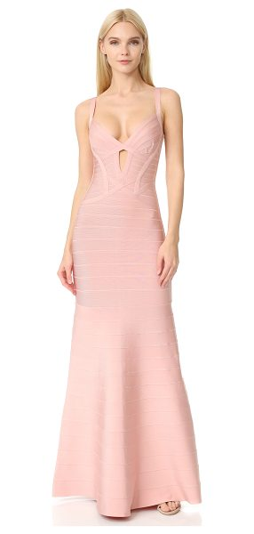 Herve Leger cambria gown in petal - A sleek, elegant Herve Leger bandage gown with signature...