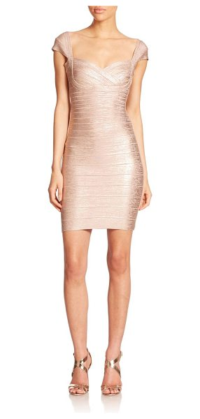 HERVE LEGER Cap-sleeve foil sheath - Dainty cap sleeves frame the bodice of this...