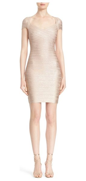 Herve Leger cap sleeve foiled bandage dress in rose gold combo - The densely knit panels of a metallic V-neck dress...