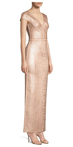 Herve Leger cap sleeve v-neck foil gown in rose gold - Reaching to just below the ankle, this column dress is...