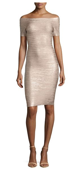 Herve Leger Carmen Bandage Cocktail Dress in champagne gold - Herve Leger stretch-knit bandage dress. Bandage knit...