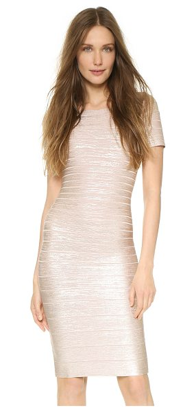 HERVE LEGER Carmen Foil Dress - A sleek, sophisticated Herve Leger sheath dress with a...