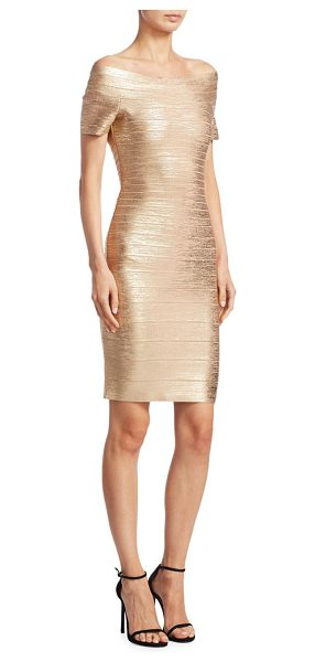 Herve Leger carmen foil dress in light gold - EXCLUSIVELY AT SAKS FIFTH AVENUE. Glam metallic bodycon...