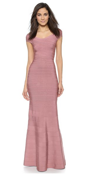 HERVE LEGER Carolyne gown - Crisscross bands accentuate the fitted bodice of an...