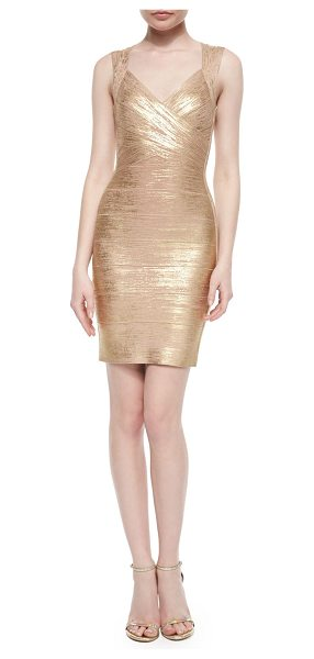 HERVE LEGER Crisscross Metallic Bandage Dress - Metallic bandage knit creates hourglass effect....