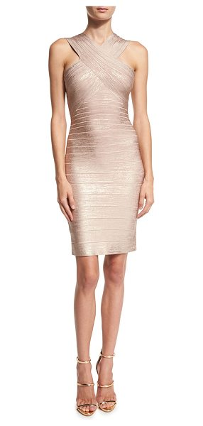 Herve Leger Crisscross Sleeveless Bandage Dress in rose gold - Herve Leger metallic bandage knit dress. Bands graduate...