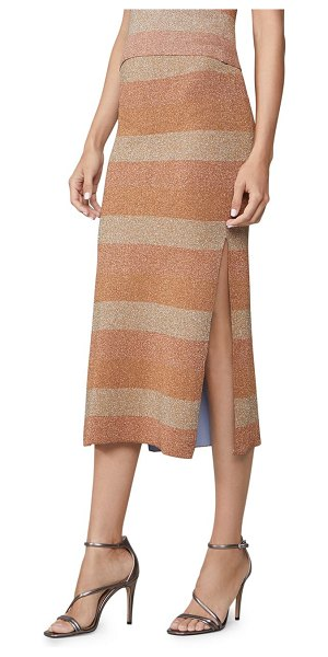 Herve Leger double faced lurex striped skirt in tan
