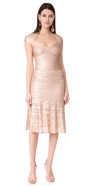 Herve Leger emilia gown in rose gold - A striking Herve Leger dress with a soft metallic...