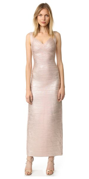 Herve Leger estrella maxi dress in rose gold combo - Brushed metallic coating brings seductive shine to this...