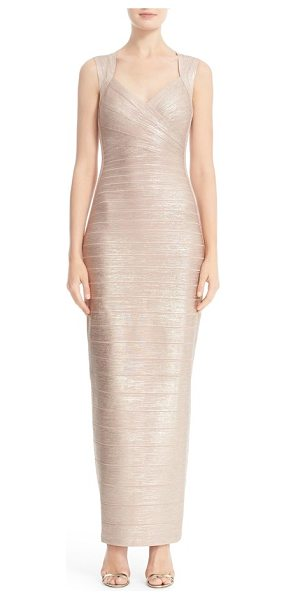 Herve Leger estrella metallic foil bandage gown in rose gold - Organic woodgrain texture and a resplendent rose-gold...
