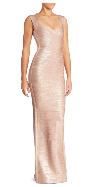 Herve Leger estrella sleeveless gown in rose gold - Metallic bandage gown enhanced with a back cutout....