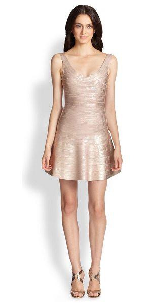 Herve Leger Eva flared metallic bandage dress in pink - A painterly metallic coating elevates this party-ready...