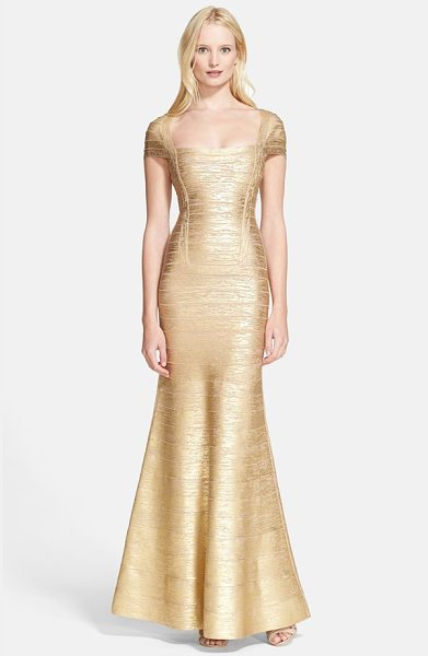 Herve Leger foiled flared bandage gown in gold champagne - Resplendent gold foil illuminates a showstopping trumpet...
