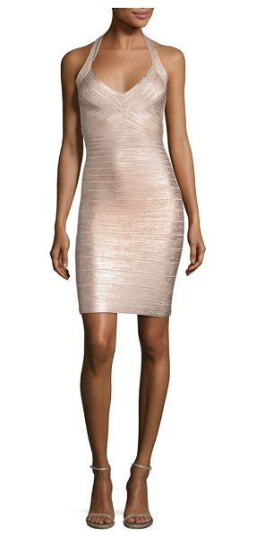 Herve Leger foiled halter cocktail dress in rose gold
