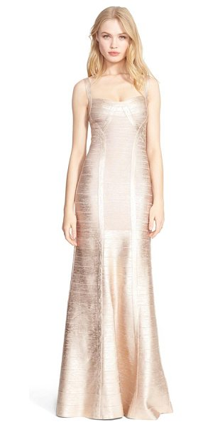 Herve Leger foiled mermaid bandage gown in rose gold combo - Stretchy, curve-highlighting panels are pieced together...