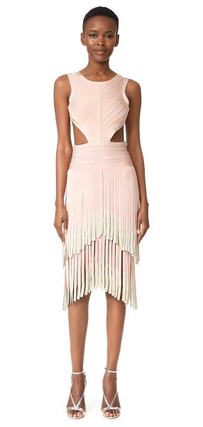 Herve Leger fringe sleeveless dress in bare - Metallic-tipped fringe details this formfitting Herve...