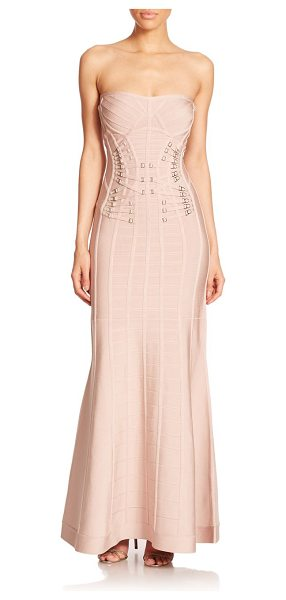 Herve Leger Garter strap mermaid gown in bare - Garter strap trim lends a seductive element to this...