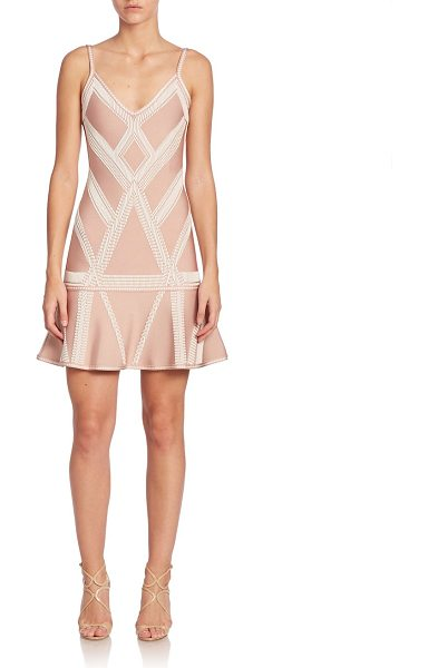 Herve Leger geometric printed short dress in rose pink - A short wardrobe staple in allover printed pattern....