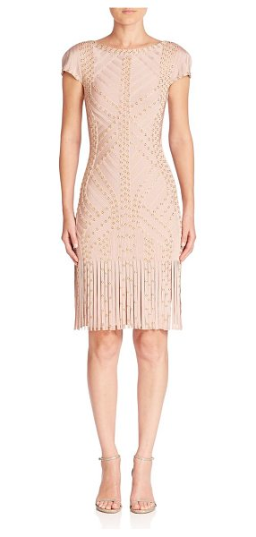 Herve Leger grommet-detail fringe short-sleeve cocktail dress in bare combo - Short-sleeve bodycon silhouette styled with grommet...