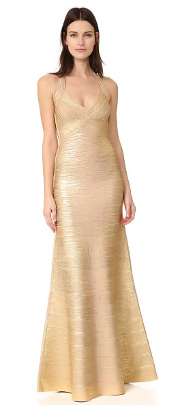 Herve Leger halter long dress in gold combo - Metallic foil detailing lends a gilded finish to this...