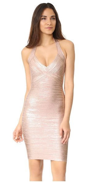 Herve Leger jessilyn halter dress in rose gold combo - A waxed metallic coating accentuates the glamorous look...