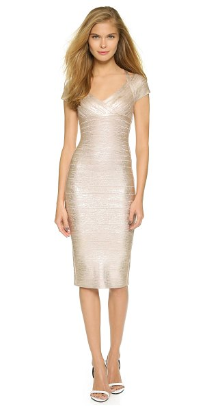 Herve Leger Kelis dress in rose gold combo - A shimmering metallic coating adds a layer of glamour to...