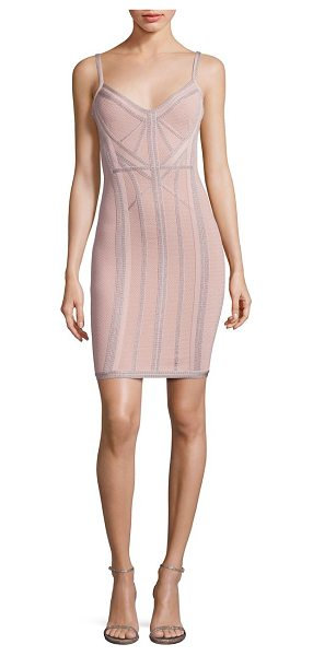 HERVE LEGER knit v-neck cocktail dress in bare combo - Fitted knit cocktail dress with stylish topstitch...