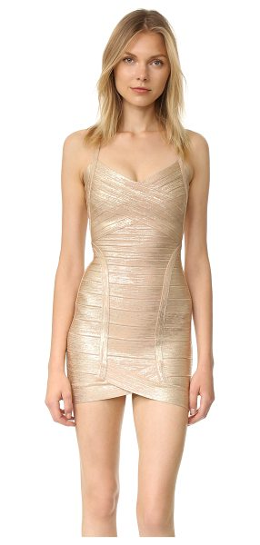 Herve Leger kourtney mid thigh dress in light gold combo - Brushed metallic coating brings seductive shine to a...