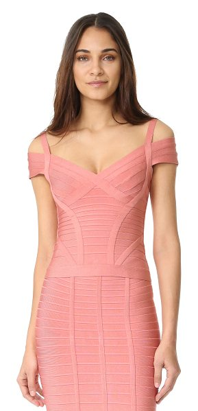 Herve Leger lenore v neck top in pale coral - Exclusive to Shopbop. A formfitting Herve Leger top in a...