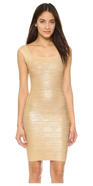 Herve Leger Lulu sleeveless dress in light gold combo - Brushed metallic coating brings seductive shine to a...