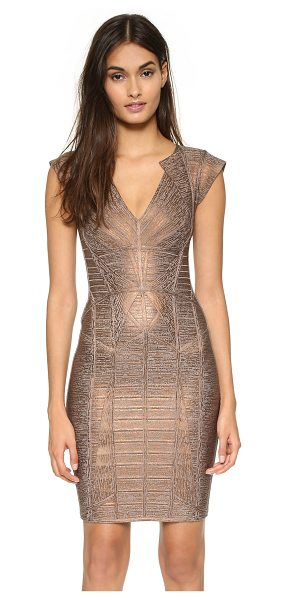 Herve Leger Margeaux dress in bronze combo - A tonal foiled coating lends luxe shimmer to this slinky...