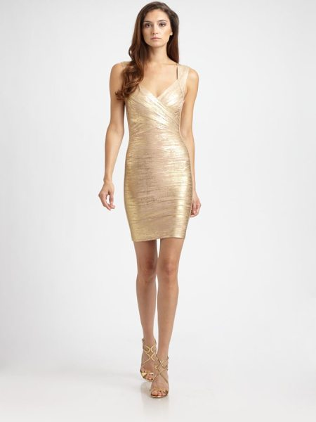 Herve Leger metallic bandage dress in gold champagne - Flattering crossover neckline and a glamorous metallic...