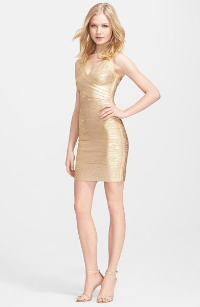 Herve Leger metallic bandage dress in gold champagne - Crisscrossing panels lift and sculpt the flattering...