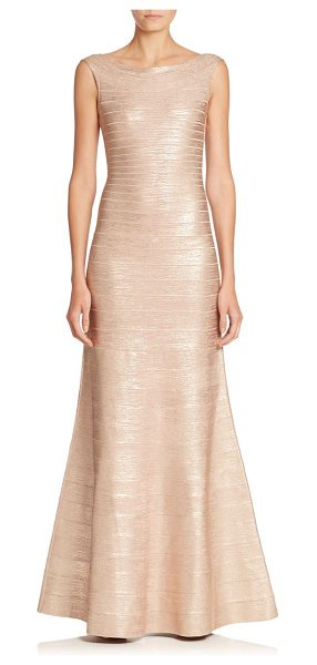 Herve Leger Metallic bandage gown in rosegold