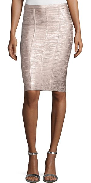 "Herve Leger Metallic bandage pencil skirt in rose gold combo - Herve Leger bandage knit pencil skirt. Approx. 22""L from..."