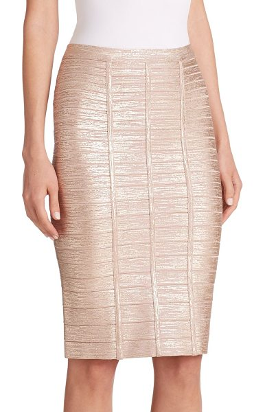 Herve Leger Metallic bandage skirt in rosegold - A shimmering metallic finish dresses up this classic...