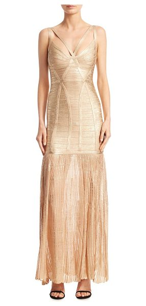 Herve Leger metallic evening gown in light gold - EXCLUSIVELY AT SAKS FIFTH AVENUE. Strappy metallic...