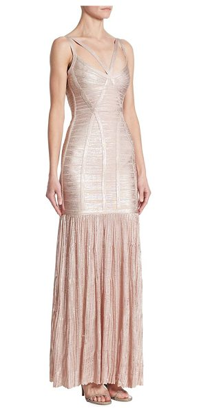 HERVE LEGER metallic evening gown - EXCLUSIVELY AT SAKS FIFTH AVENUE. Strappy metallic...