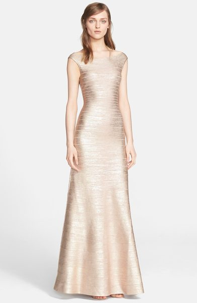 Herve Leger metallic knit bateau neck gown in rose gold combo - Herve Leger reimagines the iconic bandage dress with a...