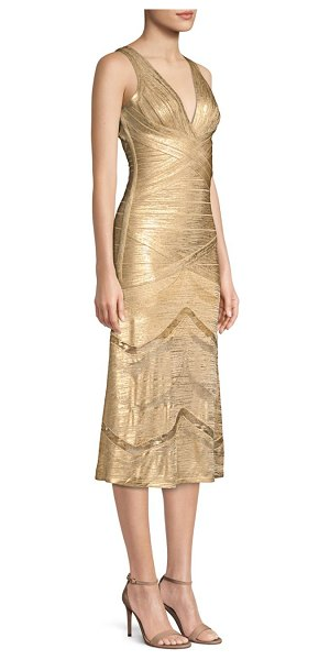 Herve Leger metallic v-neck bandage dress in gold - Channeling glamorous Art Deco style, this gilded bandage...