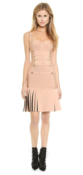 Herve Leger Milena dress in pink champagne combo - Logo embossed, rose gold tone hardware lends a luxe,...